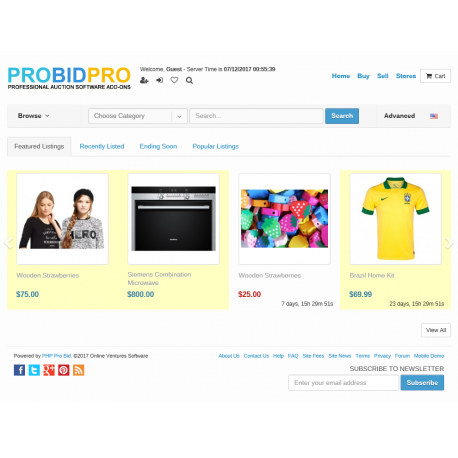 v7.4 to v7.9 - PHP ProBid Live End Time on Home Page - Browse Pages - Stores Pages - Admin Pages
