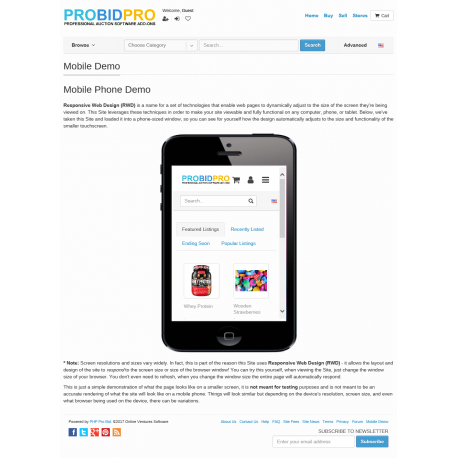 v7.4 to v7.9 - PHP ProBid Mobile Demo Page for Content Sections