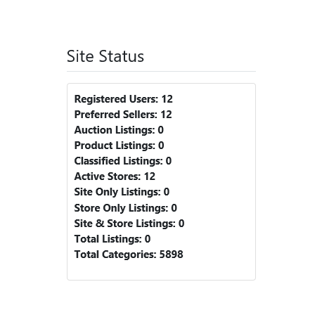 v8.0 and Up - PHP ProBid Home Page Extras - Site Status Display - Left Column - Custom Install Only