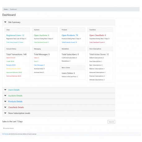 v8.0 and Up - PHP ProBid Advanced Admin Dashboard - Custom Install Only