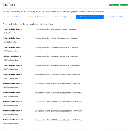 v8.0 and Up - PHP ProBid Preferred Seller Discount Levels by Items Sold - Custom Install Only