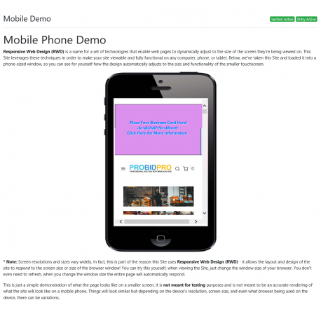 v8.0 and Up - PHP ProBid Mobile Demo Page for Content Sections - Custom Install Only